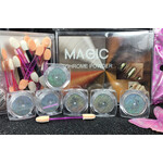 Magic Mirror Silver Chrome Powders 6 pcs Kit with Sponge Sticks MGP24