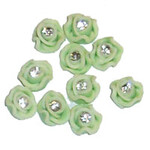 Ceramic Art Flowers with Crystal - Green