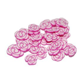 Sliced Fimo Art - Pink & White Flower (500pcs)