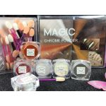 Magic Mirror Mix Chrome Powders 6 pcs Kit with Sponge Sticks MGP25