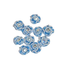 Ceramic Art Flowers with Crystal - Blue
